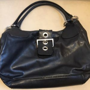 Authentic black leather Prada hobo buckle bag